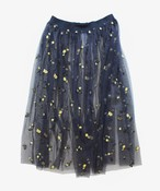 E22113:フラワー刺繍チュールスカート