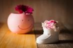 【花のプレゼント・出産祝い】プリザーブドフラワー(ベビーシューズ) ピンク