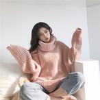 【tops】超人気ゆったり合わせやすいソリッドカラーニットセーター