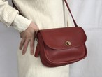 "AMERICA 1990's OLD COACH ""Red Leather"" Shoulder bag"