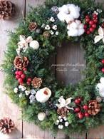 クリスマスリース/直径27cm/プリザーブドグリーン/ドライ木の実/【即日発送】【お届け日指定可能】