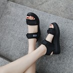 【shoes】夏INSカジュアルマジックテープ合わせやすいシンプル厚底サンダル