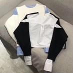 アルワンクロップドスリットニットブラウス ニット セーター ブラウス韓国ファッション