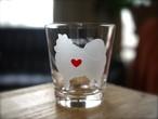 ポメラニアン彫刻グラス(ハート&クローバー)