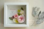 メッセージ フラワーボックスフレーム(ピンクローズ&ホワイトボックス) 母の日に 結婚祝 記念日 プリザーブド オーダー