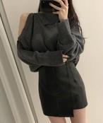 ショルダーボタンニット ニット ワンショル 韓国ファッション