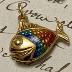 ★レインボーカラフルフィッシュ★虹色エナメルで輝く魚さんチャームk18