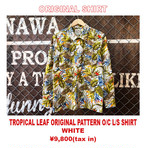 TROPICAL LEAF ORIGINAL PATTERN OPEN COLLAR L/S SHIRT