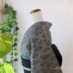 正絹紬 藍の花菱の小紋 袷