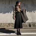 【送料無料】レトロガール♡シンプル セミプリーツ ロングスカート