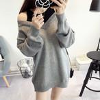 【tops】肩出しフェイクレイヤード配色ニットセーター