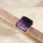 正絹 市松の三分紐ガラスの帯留めつき 桜