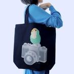 インコのおとちゃん×ことりちゃん コザクラインコ トートバッグ(ネイビー)