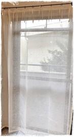 ♣リネンメッシュ*フラットリボンカーテン*アイボリーホワイト【トール】イージーオーダー♧W145×H180~200