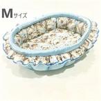 ふーじこちゃんママ手作り ぽんぽんベッド フリル付き(サテンライトブルー・子猫柄)Mサイズ