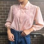 pink embroidered vintage blouse
