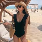 レディース 水着 ワンピース Vネック ブラック 背中魅せ バックシャン フリル 大人シック シンプル リゾート 海水浴 女子旅