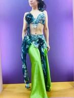 エジプト製ベリーダンス衣装 グリーン花柄