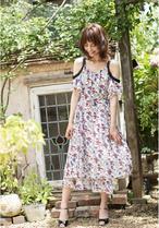 Open-Shoulder Chiffon Dress / オープンショルダー花柄シフォンワンピース