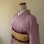 正絹 長春色(ちょうしゅんいろ)のドットの付け下げ 袷の着物