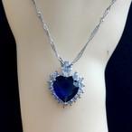 D006 送料無料 レディース ネックレス アクセサリー ブルー ハート Sapphire Necklace