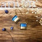 ガラス彫刻ピアス|センターツートン<Center two-tone>|ブルー