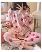 ルームウェア レディース 冬 もこもこ ボウタイ イチゴ柄 上下セット 大きいサイズ 長袖 部屋着 ナイトウェア ルームウェア パジャマ 可愛い 暖かいパステル  i1057