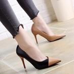 【shoes】ハイヒール尖った先レディースファッション疲れない配色パンプス