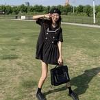 【送料無料】 ガーリーなセーラーワンピ♡ セーラー襟 ダブルボタン プリーツスカート ミニ ワンピース
