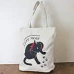 【COTTON BAG コットンバッグ】キャットプリント(黒猫リボン)縦型トートバッグ