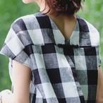 6月15日20:00~【予約販売】KU-UM×chika バックデザインコクーンプルオーバー ブロックチェック