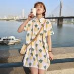 【dress】清新Aライン半袖膝上POLOネックプリントワンピース
