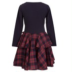 CIRCLE FRILL JERSEY DRESS RED TARTAN