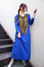 Blue × gold ethnic onepiece