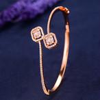 GODKIトレンディな高級スタッカブルバングルカフ用女性ウェディングフルキュービックジルコンクリスタルCZドバイシルバーブレスレットパーティージュエリー2019 H063B Rose Gold