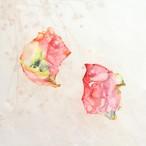 赤色の花々①|染めオーガンジーのアートピアス