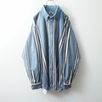 HALIFAX stripe denim-collar shirt