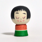 ミニこけし(クリスマス) 約1寸 約3.6cm 鈴木明 工人(作並系)#0204
