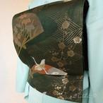 正絹 深緑に鶴の袋帯