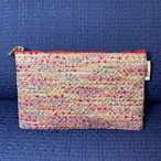 【完成品】 ポーチ  Italian tweed  pink red