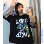 【tops】プリントフェイクレイヤード配色Tシャツ23328837