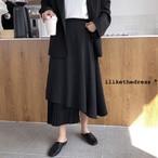 【ボトムス】不規則ハイウエスト切り替え無地ファッションロングAラインスカート