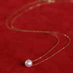 K18一粒真珠のスルーペンダント【あこや真珠】P-2513