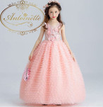 花柄 子供 ロングドレス 姫系 プリンセス エレガント pink シンプル 段フリル 可愛い フェアリー ドレス こども 発表会 フォーマル kids dress