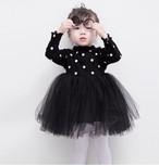 【即納/送料無料】ブラック ✴︎ドッド柄 長袖ワンピース 可愛いベビードレス ブラック