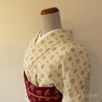 ウール 白に絣の小紋 単衣