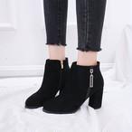 【shoes】ファスナー飾り上品らしいポインテッドトゥブーツ 23462512