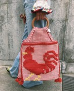 50s handmade red × wood handle chicken bag ( ヴィンテージ ハンドメイド ウッド ハンドル ニワトリ バッグ )