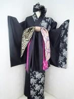 糸菊*半身ロング着物(黒×シルバー)