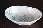 藍水 五彩花 楕円鉢 うつわ藍水 波佐見焼